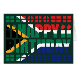 South Africa Flag Birthday Card