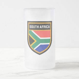 South Africa Flag Frosted Glass Beer Mug