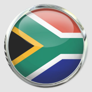 South Africa Flag Glass Ball Classic Round Sticker