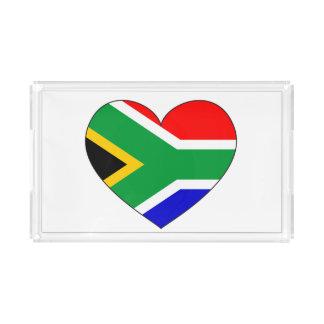 South Africa Flag Heart Acrylic Tray