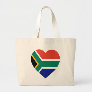 South Africa Flag Heart Large Tote Bag