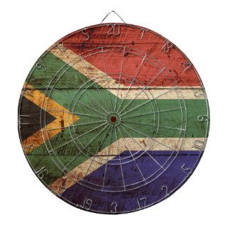 South Africa Flag on Old Wood Grain Dartboard