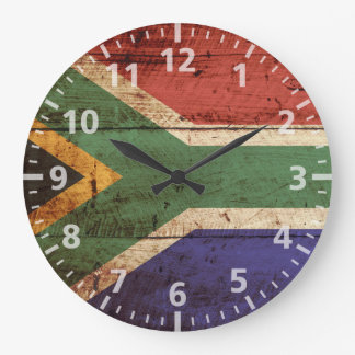 South Africa Flag on Old Wood Grain Large Clock