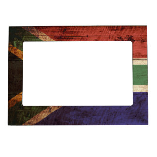 South Africa Flag on Old Wood Grain Magnetic Frame
