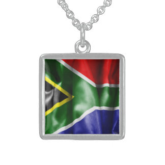 South Africa Flag Square Pendant Necklace