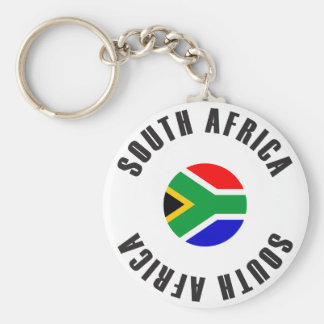 South Africa Flag Wheel Basic Round Button Key Ring