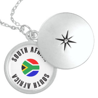 South Africa Flag Wheel Sterling Silver Necklace