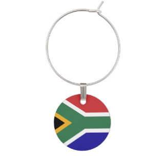 South Africa Flag Wine Glass Charms