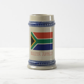 South Africa Flag with Name Beer Stein