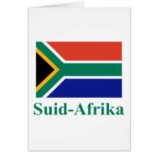 South Africa Flag with Name in Afrikaans Cards
