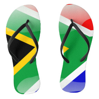 South Africa glossy flag Flip Flops
