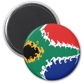 South Africa Gnarly Flag 6 Cm Round Magnet