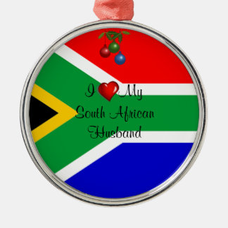 South Africa: I Love My South African Husband Silver-Colored Round Decoration