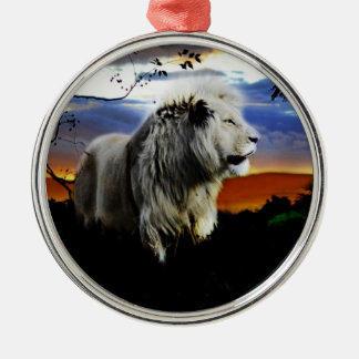 South Africa Lion in the Jungle Silver-Colored Round Decoration