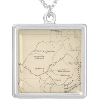 South Africa Lithographed Map Silver Plated Necklace