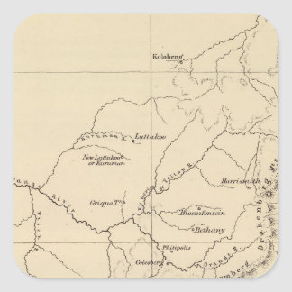 South Africa Lithographed Map Square Sticker