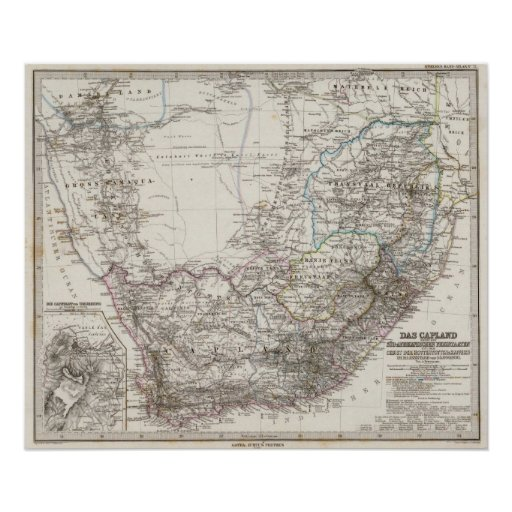 South Africa Map Poster