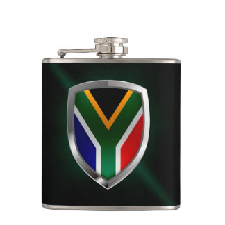 South Africa Metallic Emblem Hip Flask
