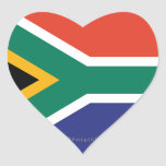 South Africa Plain Flag Heart Stickers