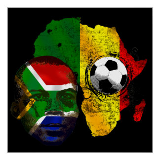 South Africa soccer lovers South AFrican flag face Poster