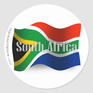 South Africa Waving Flag Classic Round Sticker