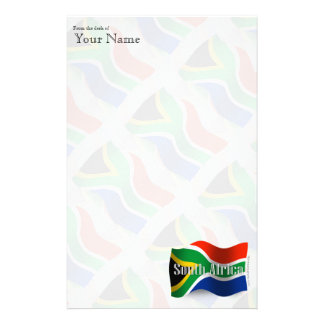 South Africa Waving Flag Custom Stationery