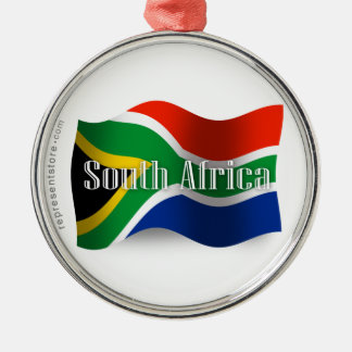 South Africa Waving Flag Silver-Colored Round Decoration