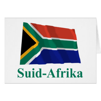 South Africa Waving Flag with Name in Afrikaans Greeting Card