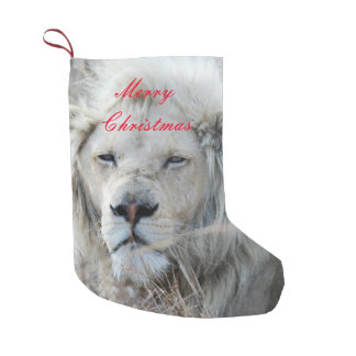 South Africa White Lion resting Small Christmas Stocking