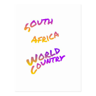 South Africa world country, colorful text art Postcard