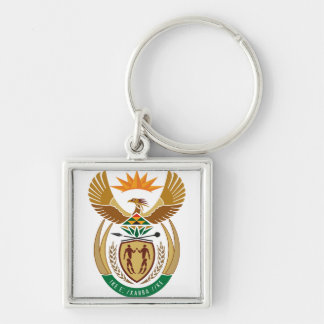 South Africa ZA Silver-Colored Square Key Ring