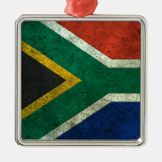 South African Flag Aged Steel Effect Christmas Ornament