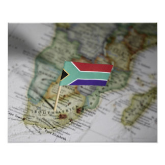 South African flag in map Poster