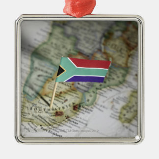 South African flag in map Silver-Colored Square Decoration