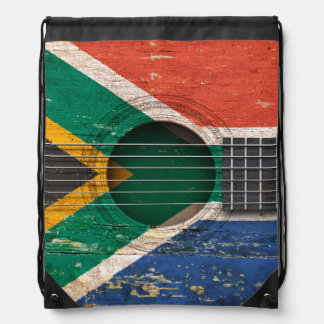 South African Flag on Old Acoustic Guitar Drawstring Bag