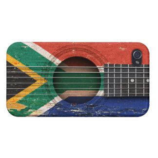 South African Flag on Old Acoustic Guitar iPhone 4/4S Cover