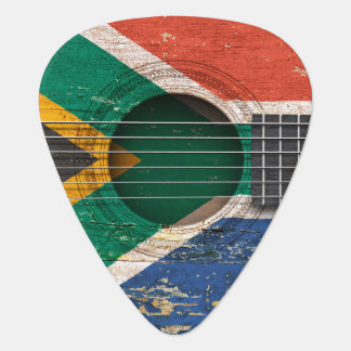 South African Flag on Old Acoustic Guitar Plectrum