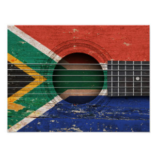 South African Flag on Old Acoustic Guitar Poster