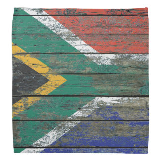 South African Flag on Rough Wood Boards Effect Bandana