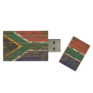 South African Flag on Rough Wood Boards Effect Wood USB 2.0 Flash Drive