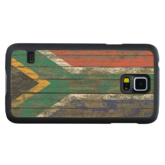South African Flag on Rough Wood Boards Effect Maple Galaxy S5 Slim Case