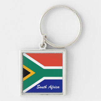 South African flag square flag Silver-Colored Square Key Ring