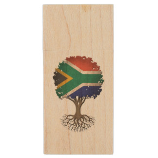 South African Flag Tree of Life Customizable Wood USB 2.0 Flash Drive