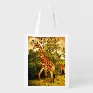 South African giraffes Reusable Grocery Bag