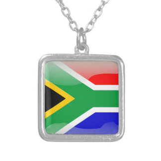 South African glossy flag Silver Plated Necklace