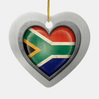 South African Heart Flag Stainless Steel Effect Christmas Ornament