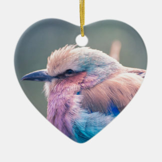 South African Lilac-Breasted Roller Ceramic Heart Decoration
