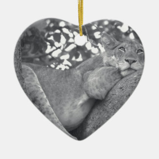 South African resting lion Ceramic Heart Decoration