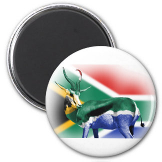 South African Springbock Flag 6 Cm Round Magnet