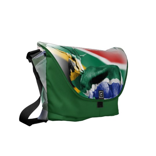 South African Springbock Flag Messenger Bag